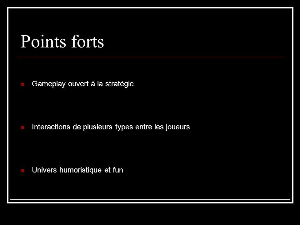 Points forts Gameplay ouvert à la stratégie Interactions de plusieurs types entre les joueurs Univers humoristique et fun
