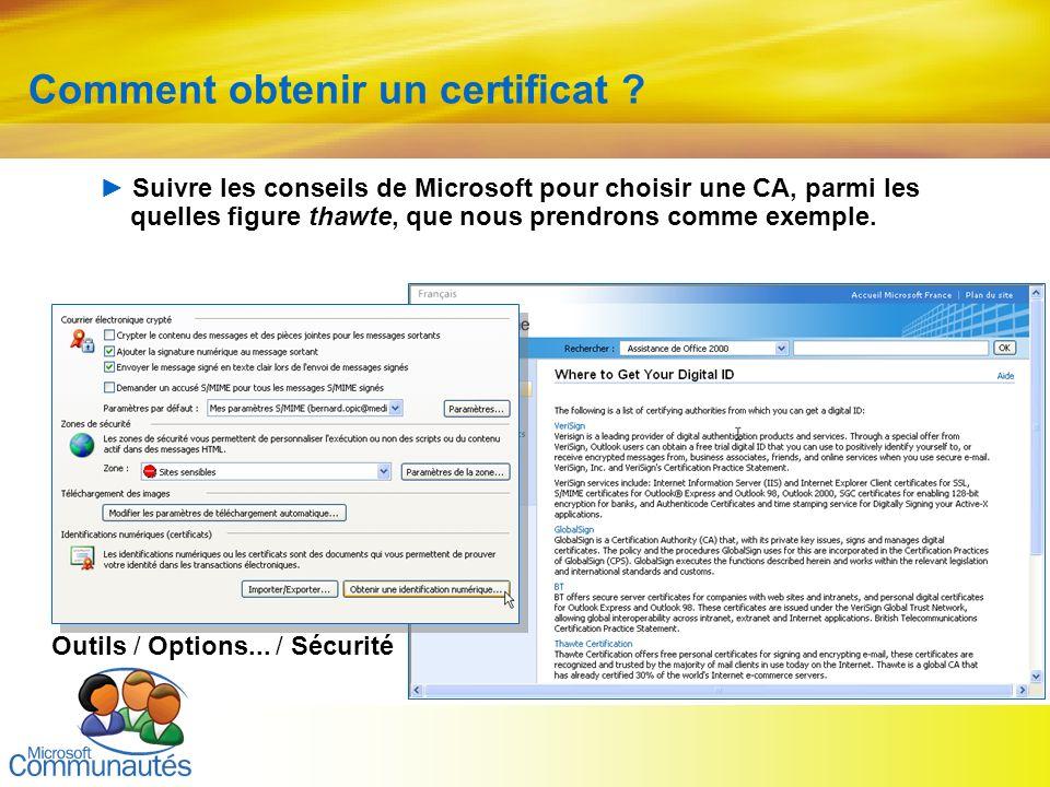 13 Titre2 Titre2 Titre2 Titre2 Titre2 Titre2 Titre2 Comment obtenir un certificat ? Outils / Options... / Sécurité Suivre les conseils de Microsoft po