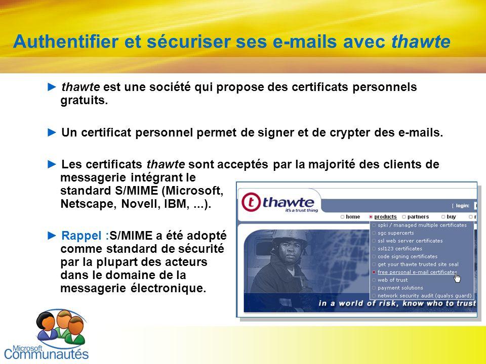 14 Titre2 Titre2 Titre2 Titre2 Titre2 Titre2 Titre2 Authentifier et sécuriser ses e-mails avec thawte thawte est une société qui propose des certifica