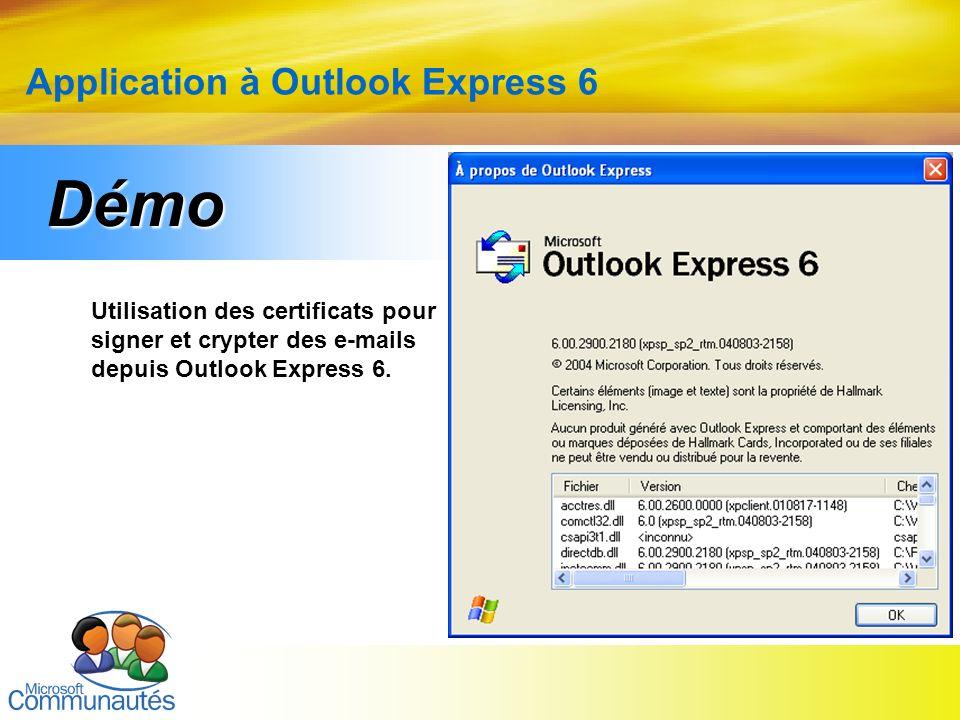 15 Titre2 Titre2 Titre2 Titre2 Titre2 Titre2 Titre2 Application à Outlook Express 6 Utilisation des certificats pour signer et crypter des e-mails dep