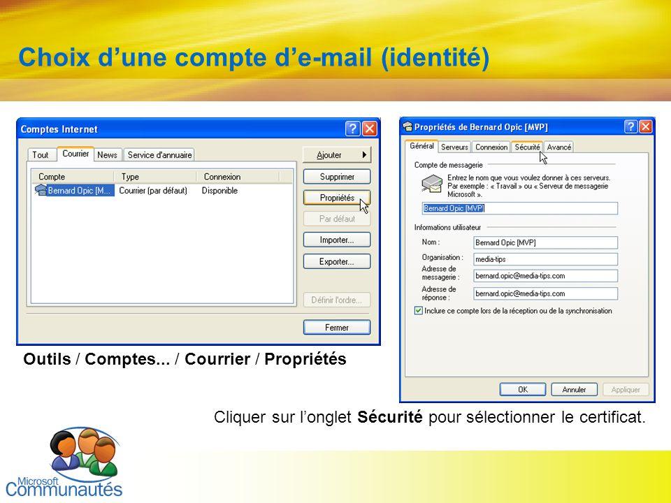 16 Titre2 Titre2 Titre2 Titre2 Titre2 Titre2 Titre2 Choix dune compte de-mail (identité) Outils / Comptes... / Courrier / Propriétés Cliquer sur longl