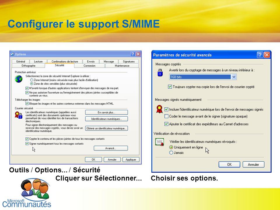 18 Titre2 Titre2 Titre2 Titre2 Titre2 Titre2 Titre2 Configurer le support S/MIME Outils / Options... / Sécurité Cliquer sur Sélectionner...Choisir ses