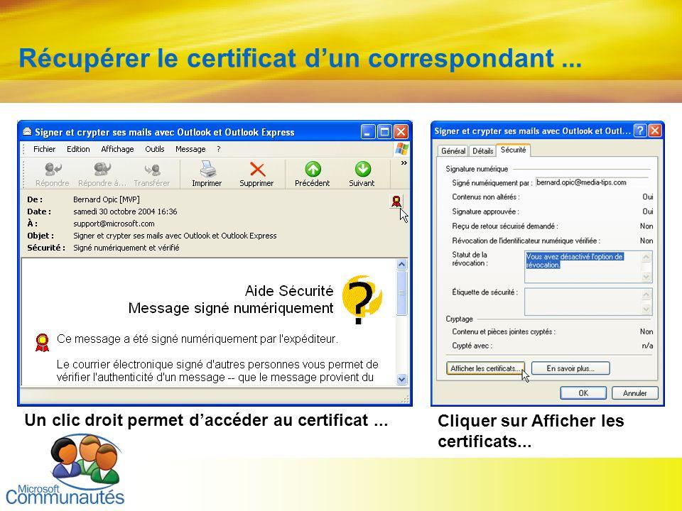 21 Titre2 Titre2 Titre2 Titre2 Titre2 Titre2 Titre2 Récupérer le certificat dun correspondant... Un clic droit permet daccéder au certificat... Clique