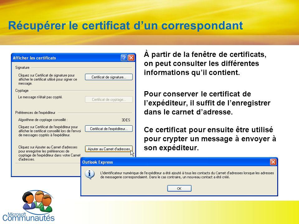22 Titre2 Titre2 Titre2 Titre2 Titre2 Titre2 Titre2 Récupérer le certificat dun correspondant À partir de la fenêtre de certificats, on peut consulter