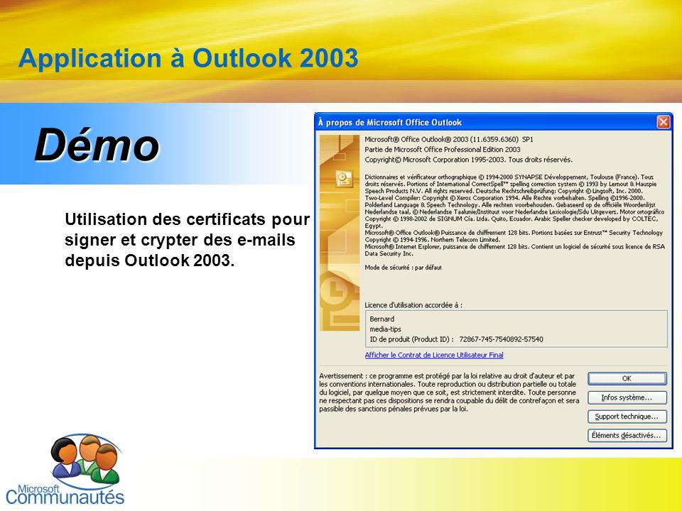 24 Titre2 Titre2 Titre2 Titre2 Titre2 Titre2 Titre2 Application à Outlook 2003 Utilisation des certificats pour signer et crypter des e-mails depuis O