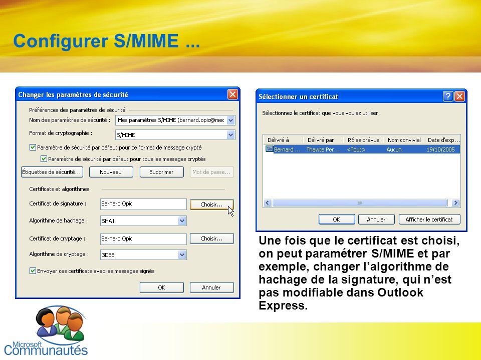 26 Titre2 Titre2 Titre2 Titre2 Titre2 Titre2 Titre2 Configurer S/MIME... Une fois que le certificat est choisi, on peut paramétrer S/MIME et par exemp
