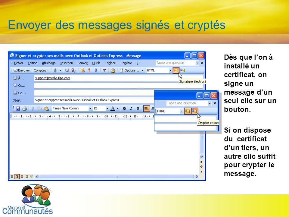 27 Titre2 Titre2 Titre2 Titre2 Titre2 Titre2 Titre2 Envoyer des messages signés et cryptés Dès que lon à installé un certificat, on signe un message d