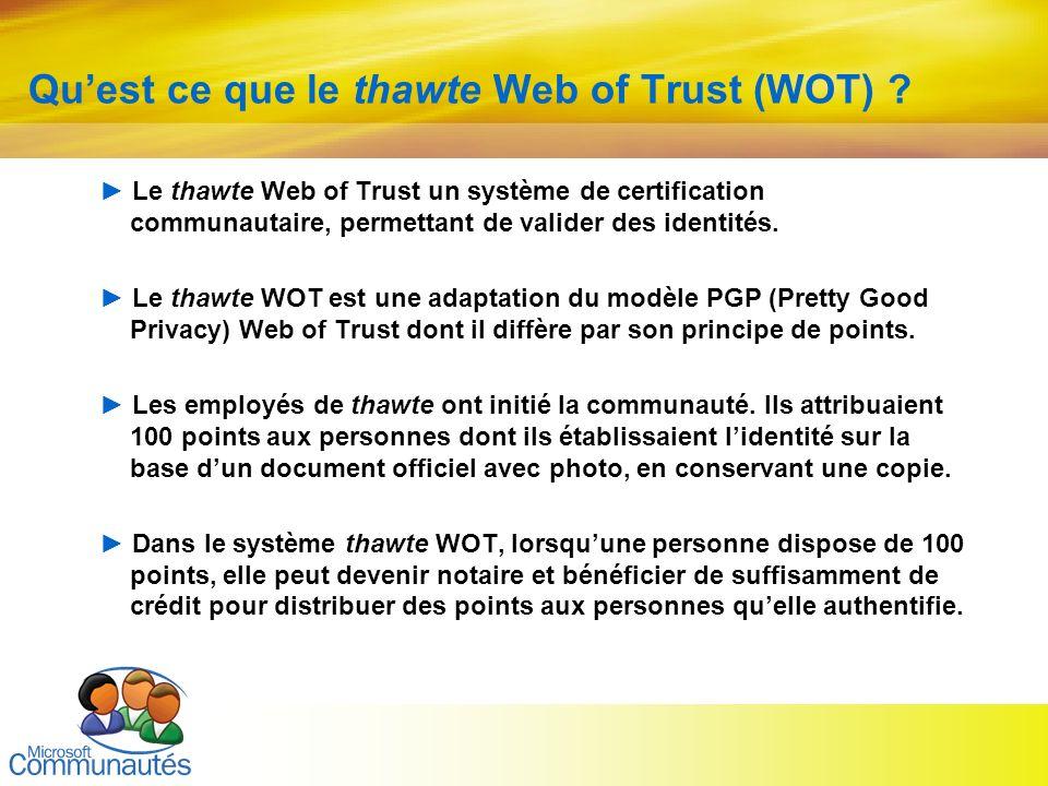 29 Titre2 Titre2 Titre2 Titre2 Titre2 Titre2 Titre2 Quest ce que le thawte Web of Trust (WOT) ? Le thawte Web of Trust un système de certification com