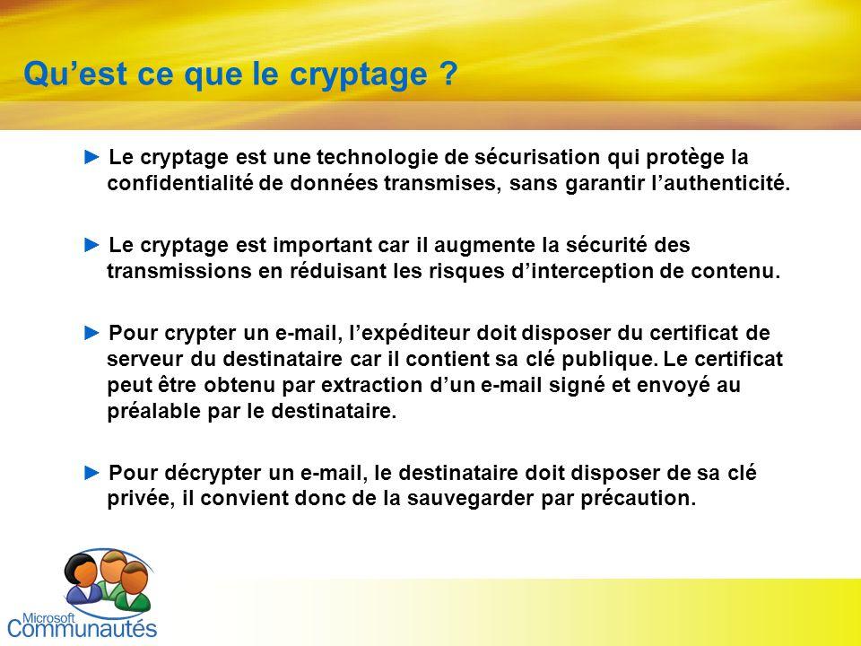 6 Quest ce que le cryptage ? Le cryptage est une technologie de sécurisation qui protège la confidentialité de données transmises, sans garantir lauth