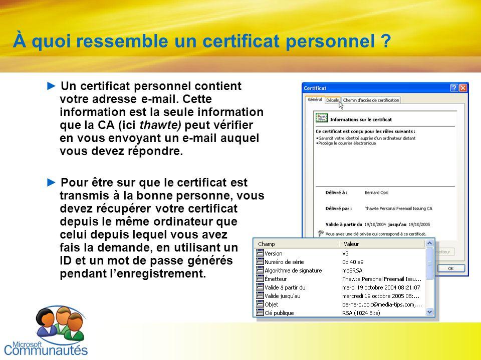 9 Titre2 Titre2 Titre2 Titre2 Titre2 Titre2 Titre2 À quoi ressemble un certificat personnel ? Un certificat personnel contient votre adresse e-mail. C
