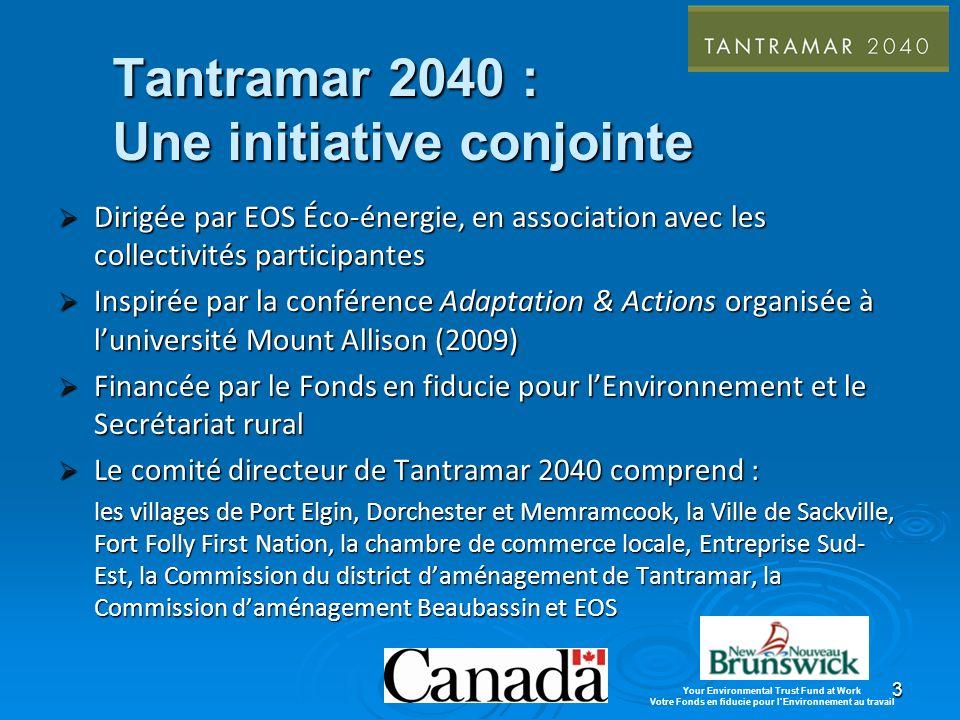 3 Tantramar 2040 : Une initiative conjointe Dirigée par EOS Éco-énergie, en association avec les collectivités participantes Dirigée par EOS Éco-énergie, en association avec les collectivités participantes Inspirée par la conférence Adaptation & Actions organisée à luniversité Mount Allison (2009) Inspirée par la conférence Adaptation & Actions organisée à luniversité Mount Allison (2009) Financée par le Fonds en fiducie pour lEnvironnement et le Secrétariat rural Financée par le Fonds en fiducie pour lEnvironnement et le Secrétariat rural Le comité directeur de Tantramar 2040 comprend : Le comité directeur de Tantramar 2040 comprend : les villages de Port Elgin, Dorchester et Memramcook, la Ville de Sackville, Fort Folly First Nation, la chambre de commerce locale, Entreprise Sud- Est, la Commission du district daménagement de Tantramar, la Commission daménagement Beaubassin et EOS Your Environmental Trust Fund at Work Votre Fonds en fiducie pour lEnvironnement au travail
