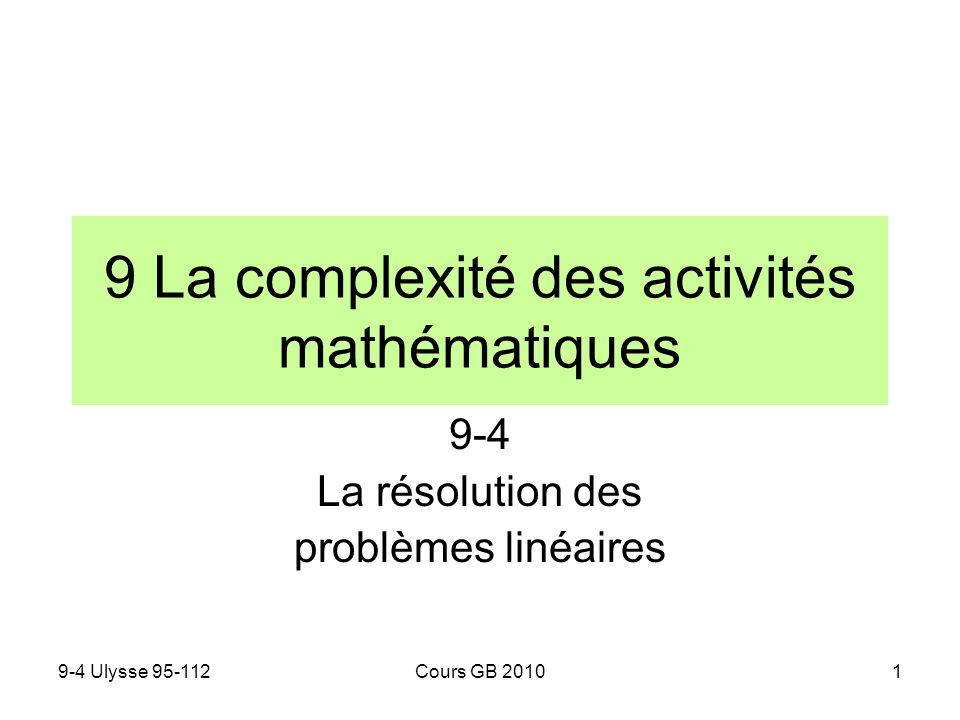 9-4 Ulysse 95-112Cours GB 20102 1.La résolution algébrique des systèmes linéaires au collège A rebours de lordre historique nous utilisons ici les expressions algébriques pour analyser les méthodes de larithmétique scolaire Méthode de substitution Lune des équations est résolue par rapport à lune des variables et lexpression obtenue lui est substituée dans lautre équation Méthode dégalisation Les deux équations sont résolues par rapport à la même variable et les expressions obtenues sont les deux membres dune égalité Méthode daddition Les deux équations sont multipliées par des nombres tels que les coefficients dune même variable y soient opposés.