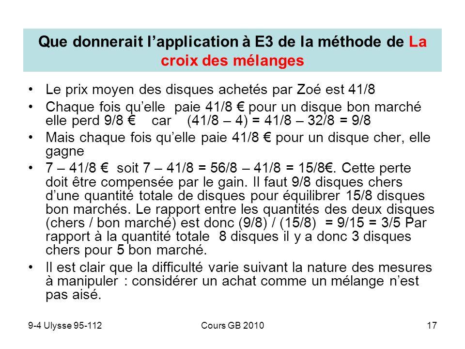 9-4 Ulysse 95-112Cours GB 201017 Que donnerait lapplication à E3 de la méthode de La croix des mélanges Le prix moyen des disques achetés par Zoé est