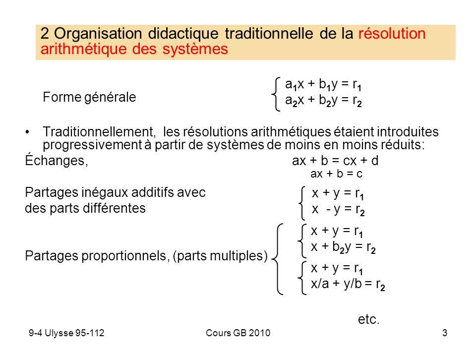 9-4 Ulysse 95-112Cours GB 20103 Forme générale Traditionnellement, les résolutions arithmétiques étaient introduites progressivement à partir de systè