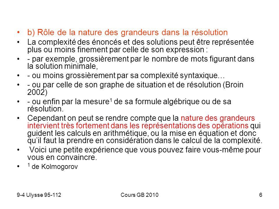 9-4 Ulysse 95-112Cours GB 20106 b) Rôle de la nature des grandeurs dans la résolution La complexité des énoncés et des solutions peut être représentée