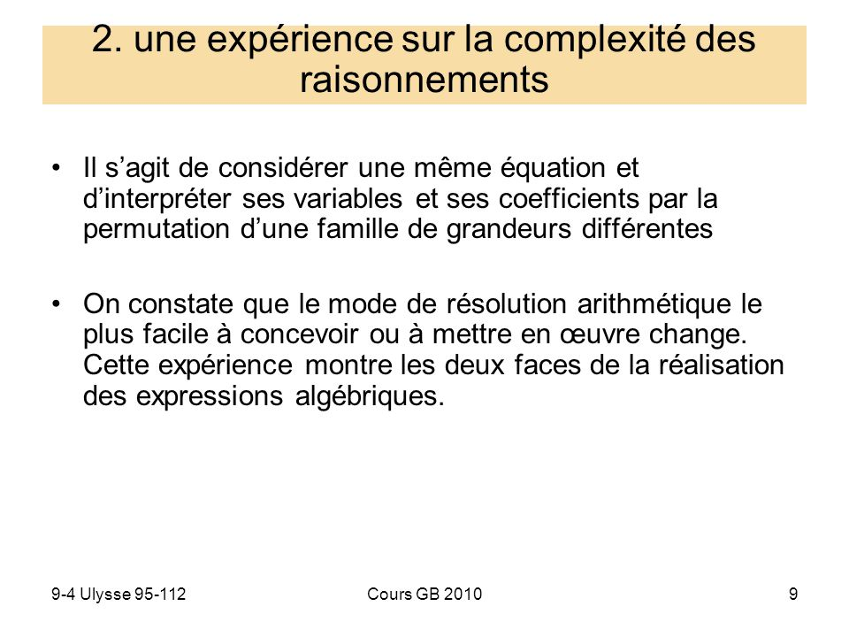 9-4 Ulysse 95-112Cours GB 20109 Il sagit de considérer une même équation et dinterpréter ses variables et ses coefficients par la permutation dune fam