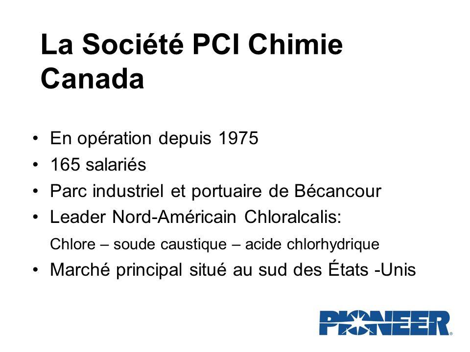 La Société PCI Chimie Canada En opération depuis 1975 165 salariés Parc industriel et portuaire de Bécancour Leader Nord-Américain Chloralcalis: Chlor