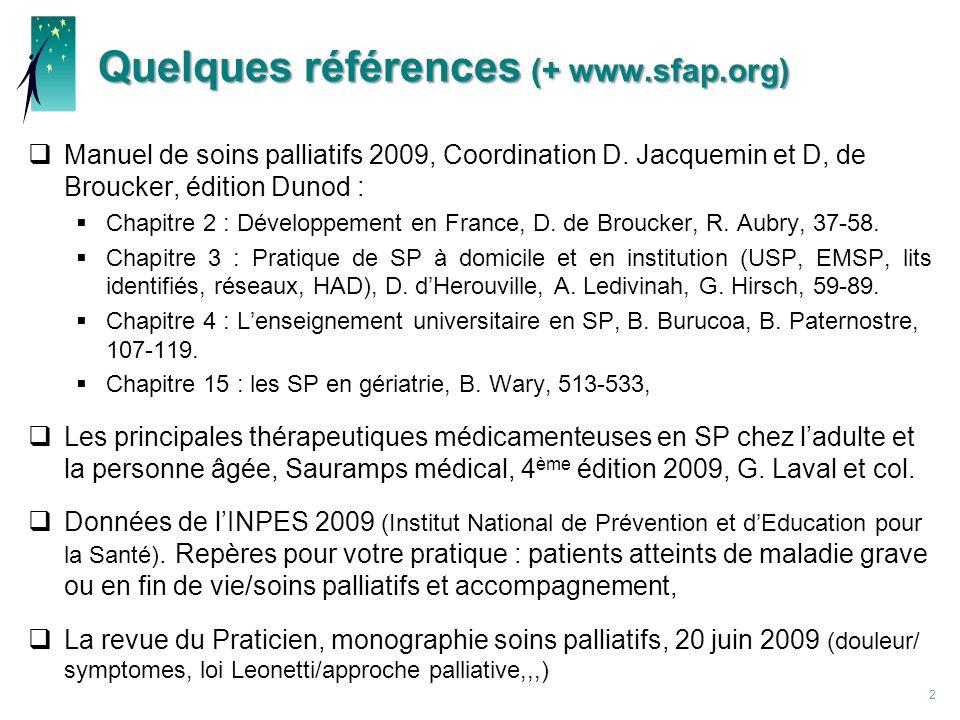Quelques références (+ www.sfap.org) Manuel de soins palliatifs 2009, Coordination D.