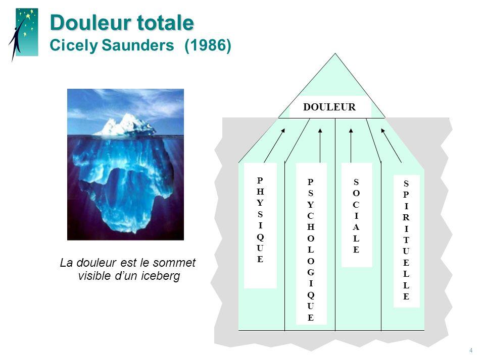 4 Douleur totale Douleur totale Cicely Saunders (1986) DOULUR PPHYSIQUEPPHYSIQUE PPSYCHOLOGIQUEPPSYCHOLOGIQUE SSOCIALESSOCIALE SPIRITUELLESPIRITUELLE DOULEUR La douleur est le sommet visible dun iceberg