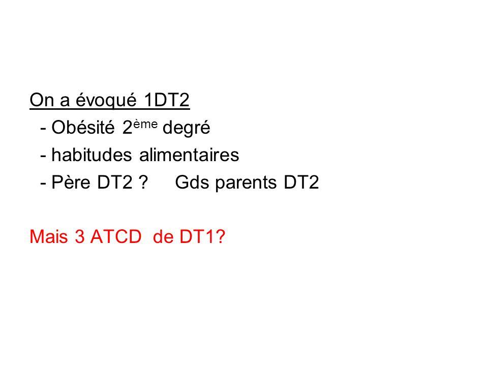 On a évoqué 1DT2 - Obésité 2 ème degré - habitudes alimentaires - Père DT2 ? Gds parents DT2 Mais 3 ATCD de DT1?