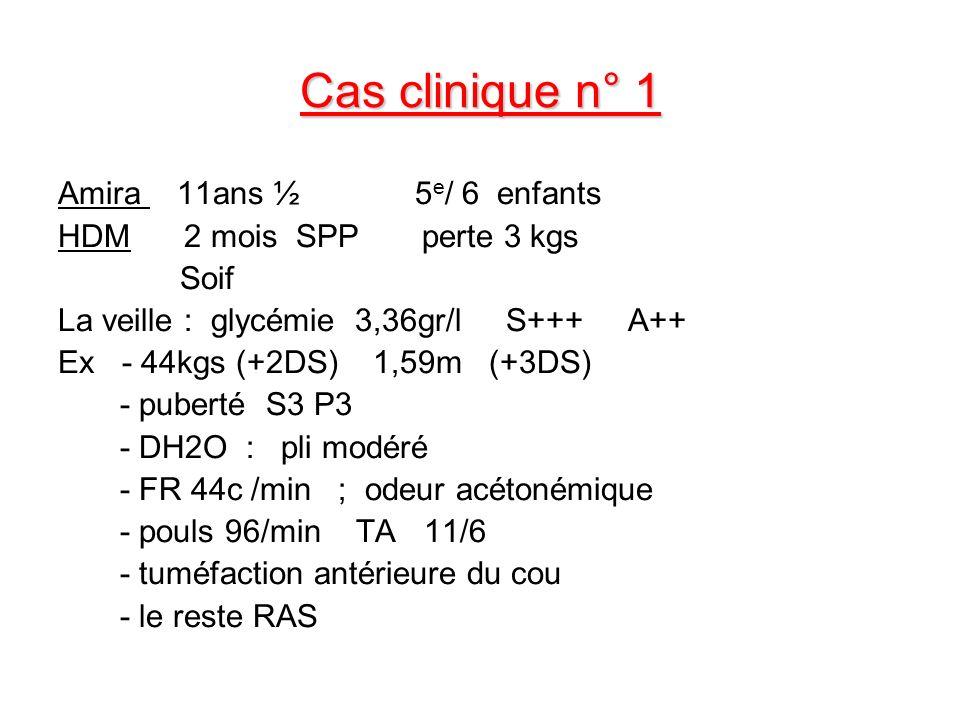 Cas clinique n° 1 Amira 11ans ½ 5 e / 6 enfants HDM 2 mois SPP perte 3 kgs Soif La veille : glycémie 3,36gr/l S+++ A++ Ex - 44kgs (+2DS) 1,59m (+3DS)