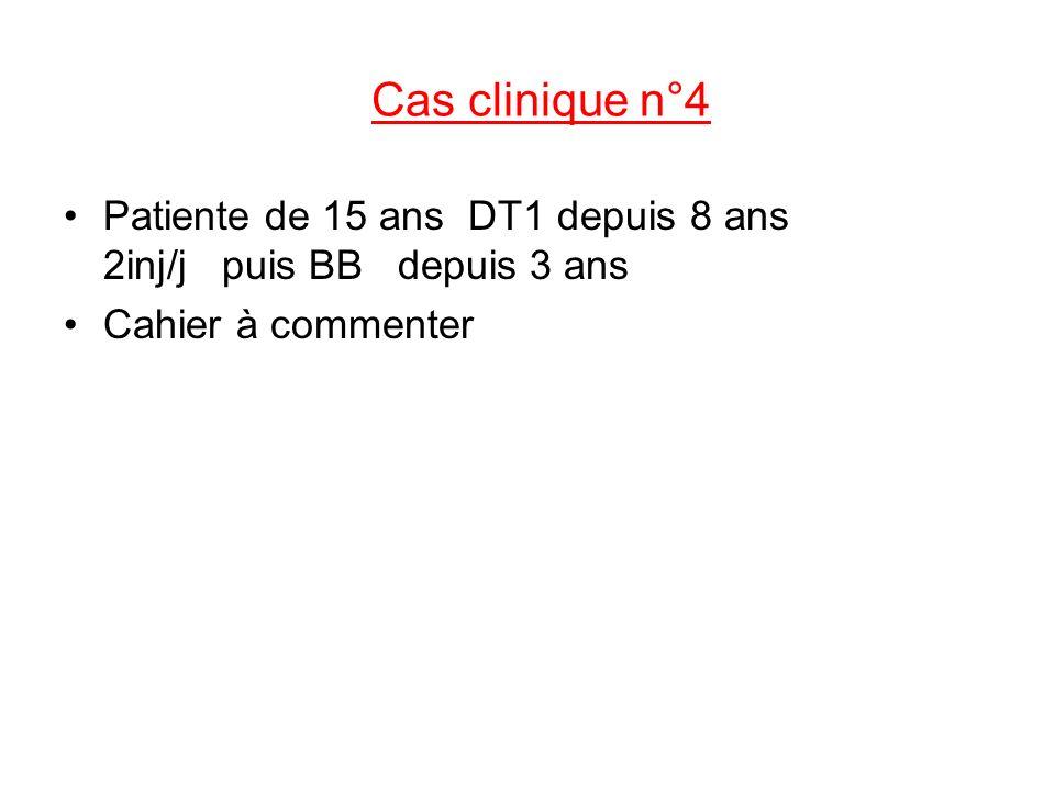 Cas clinique n°4 Patiente de 15 ans DT1 depuis 8 ans 2inj/j puis BB depuis 3 ans Cahier à commenter