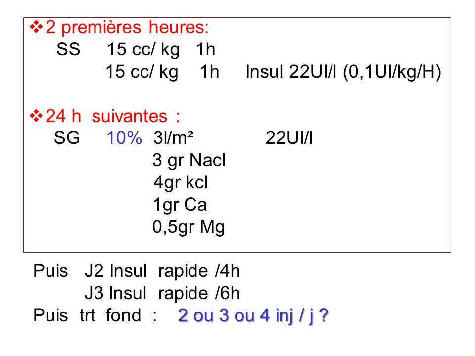 2 premières heures: SS 15 cc/ kg 1h 15 cc/ kg 1h Insul 22UI/l (0,1UI/kg/H) 24 h suivantes : SG 10% 3l/m²22UI/l 3 gr Nacl 4gr kcl 1gr Ca 0,5gr Mg Puis