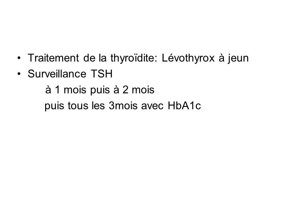 Traitement de la thyroïdite: Lévothyrox à jeun Surveillance TSH à 1 mois puis à 2 mois puis tous les 3mois avec HbA1c