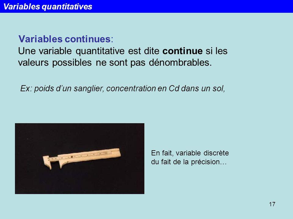 17 Variables continues: Une variable quantitative est dite continue si les valeurs possibles ne sont pas dénombrables. Ex: poids dun sanglier, concent