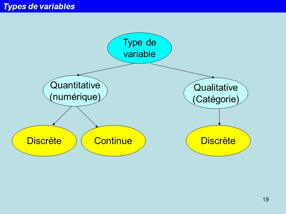19 Type de variable ContinueDiscrète Qualitative (Catégorie) Quantitative (numérique) Discrète Types de variables