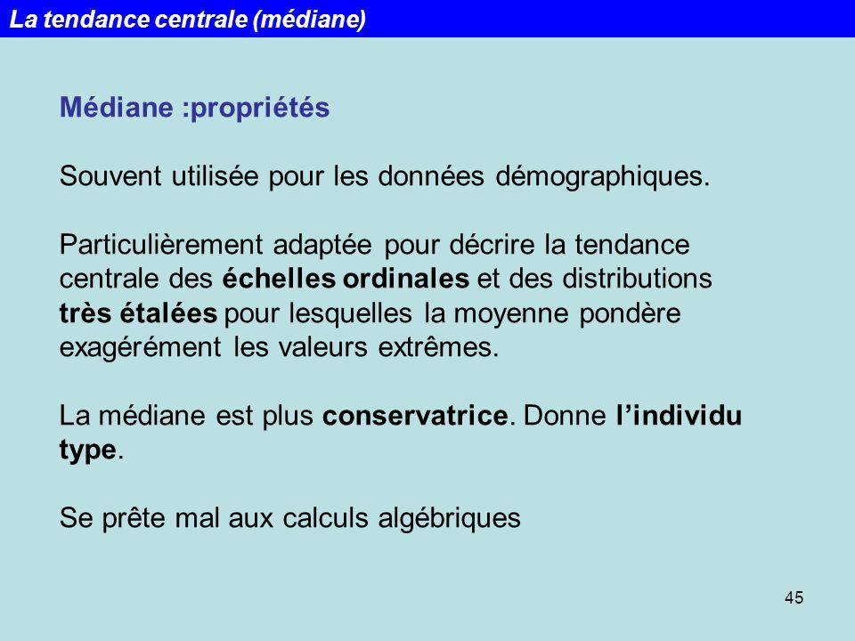45 Médiane :propriétés Souvent utilisée pour les données démographiques. Particulièrement adaptée pour décrire la tendance centrale des échelles ordin