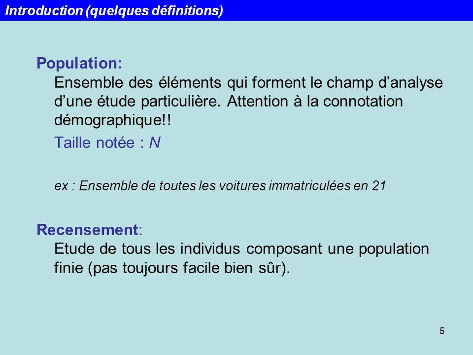 5 Population: Ensemble des éléments qui forment le champ danalyse dune étude particulière. Attention à la connotation démographique!! Taille notée : N