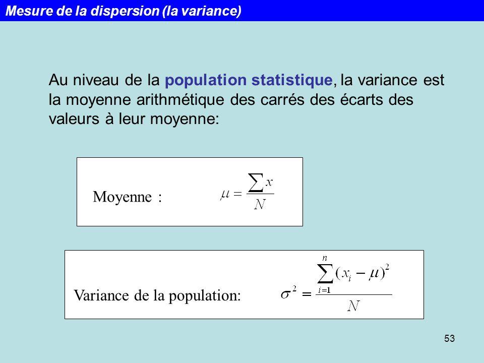 53 Au niveau de la population statistique, la variance est la moyenne arithmétique des carrés des écarts des valeurs à leur moyenne: Moyenne : Varianc