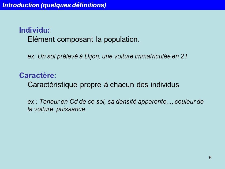 6 Individu: Elément composant la population. ex: Un sol prélevé à Dijon, une voiture immatriculée en 21 Caractère: Caractéristique propre à chacun des