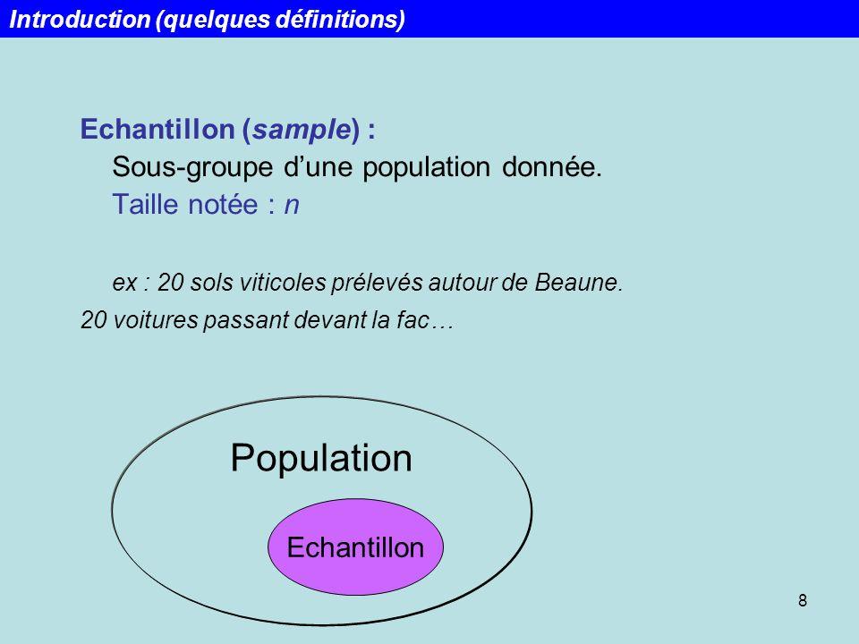 8 Echantillon (sample) : Sous-groupe dune population donnée. Taille notée : n ex : 20 sols viticoles prélevés autour de Beaune. 20 voitures passant de