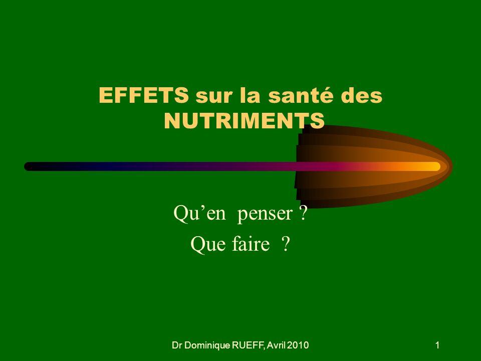 Dr Dominique RUEFF, Avril 20101 EFFETS sur la santé des NUTRIMENTS Quen penser ? Que faire ?
