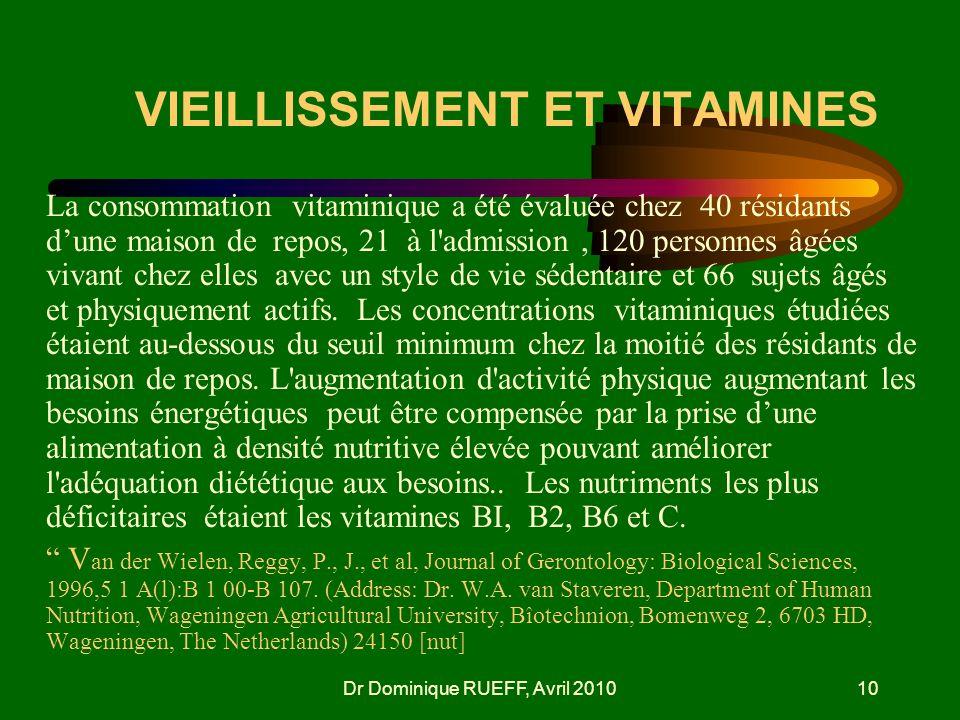 Dr Dominique RUEFF, Avril 201010 VIEILLISSEMENT ET VITAMINES La consommation vitaminique a été évaluée chez 40 résidants dune maison de repos, 21 à l'