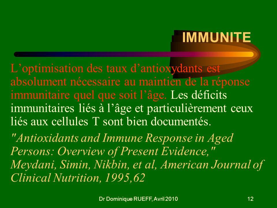 Dr Dominique RUEFF, Avril 201012 IMMUNITE Loptimisation des taux dantioxydants est absolument nécessaire au maintien de la réponse immunitaire quel qu