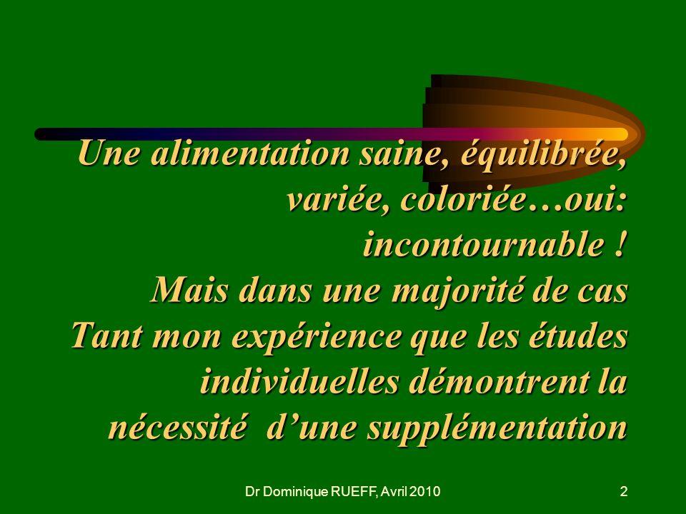 Dr Dominique RUEFF, Avril 20102 Une alimentation saine, équilibrée, variée, coloriée…oui: incontournable ! Mais dans une majorité de cas Tant mon expé