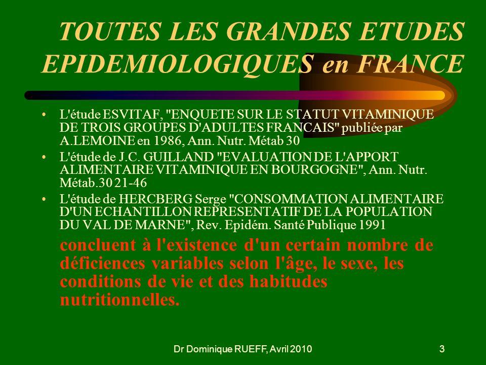 Dr Dominique RUEFF, Avril 20103 TOUTES LES GRANDES ETUDES EPIDEMIOLOGIQUES en FRANCE L'étude ESVITAF,