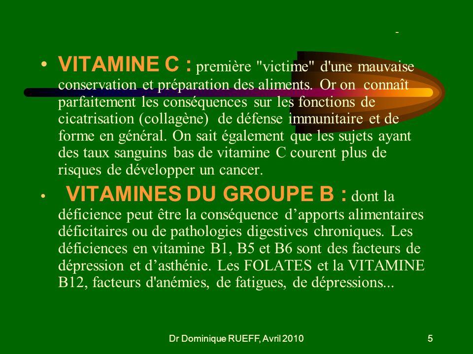 Dr Dominique RUEFF, Avril 20105 - VITAMINE C : première