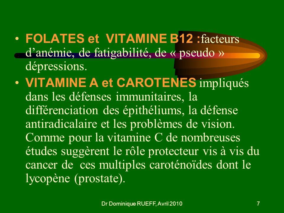 Dr Dominique RUEFF, Avril 20107 FOLATES et VITAMINE B12 : facteurs danémie, de fatigabilité, de « pseudo » dépressions. VITAMINE A et CAROTENES impliq
