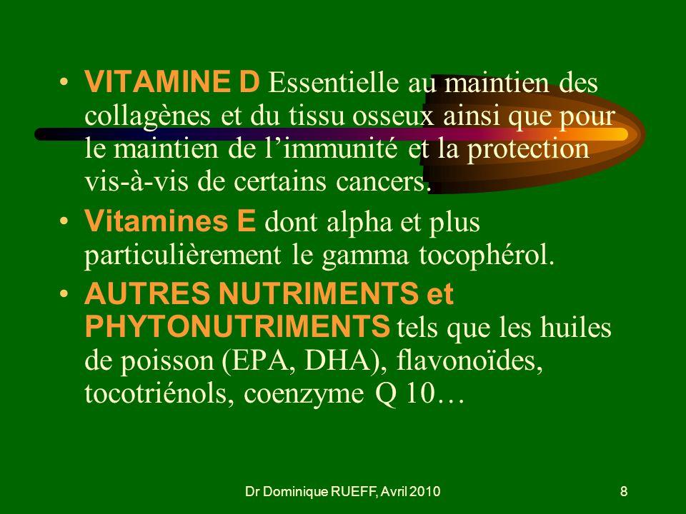 Dr Dominique RUEFF, Avril 20108 VITAMINE D Essentielle au maintien des collagènes et du tissu osseux ainsi que pour le maintien de limmunité et la pro