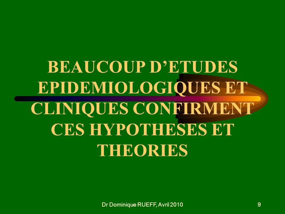 Dr Dominique RUEFF, Avril 20109 BEAUCOUP DETUDES EPIDEMIOLOGIQUES ET CLINIQUES CONFIRMENT CES HYPOTHESES ET THEORIES
