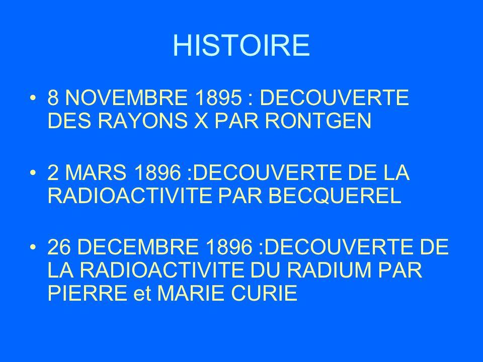 HISTOIRE 8 NOVEMBRE 1895 : DECOUVERTE DES RAYONS X PAR RONTGEN 2 MARS 1896 :DECOUVERTE DE LA RADIOACTIVITE PAR BECQUEREL 26 DECEMBRE 1896 :DECOUVERTE
