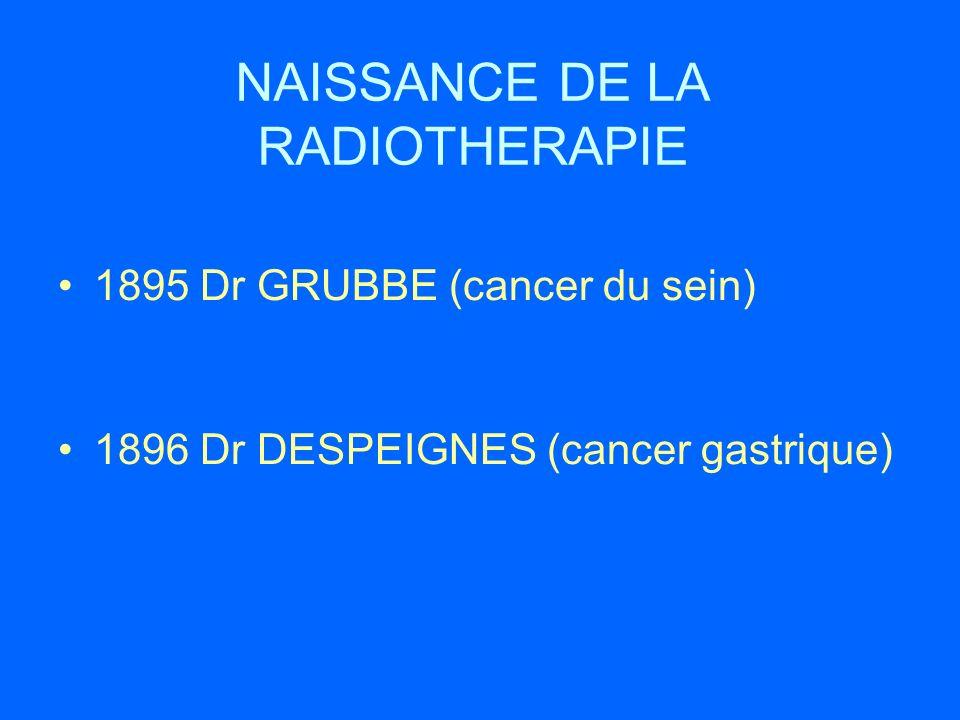 NAISSANCE DE LA RADIOTHERAPIE 1895 Dr GRUBBE (cancer du sein) 1896 Dr DESPEIGNES (cancer gastrique)