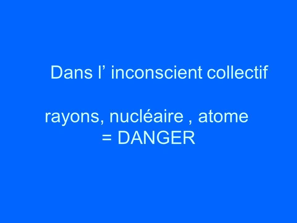 Dans l inconscient collectif rayons, nucléaire, atome = DANGER
