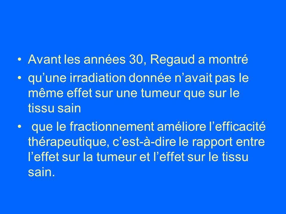 Avant les années 30, Regaud a montré quune irradiation donnée navait pas le même effet sur une tumeur que sur le tissu sain que le fractionnement amél