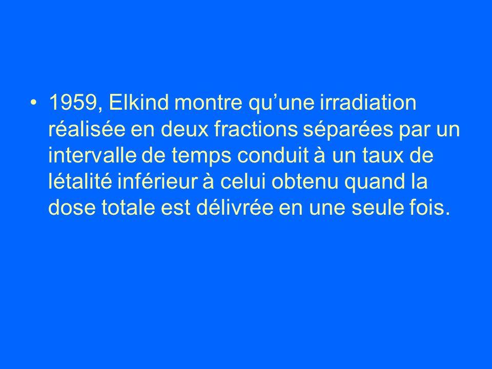 1959, Elkind montre quune irradiation réalisée en deux fractions séparées par un intervalle de temps conduit à un taux de létalité inférieur à celui o