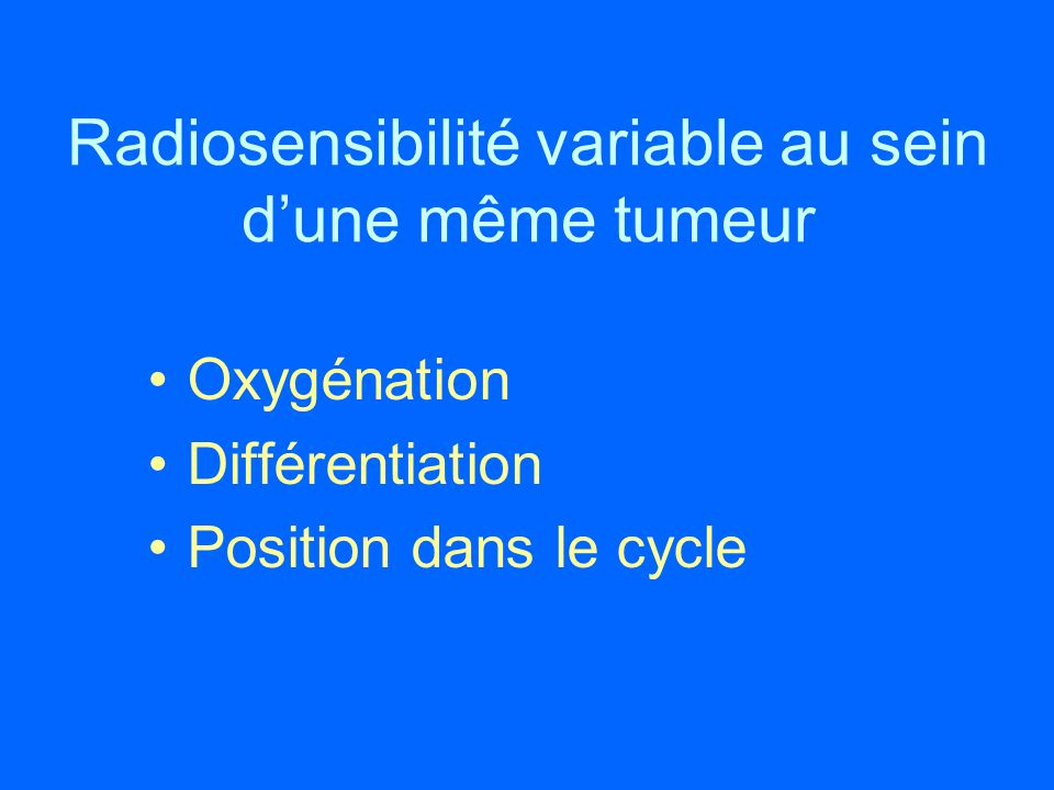 Radiosensibilité variable au sein dune même tumeur Oxygénation Différentiation Position dans le cycle